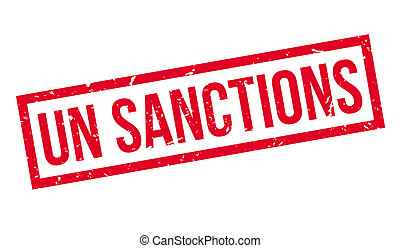 UN Sanctions rubber stamp on white. Print, impress,...