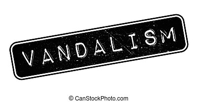 Vandalism rubber stamp on white. Print, impress, overprint.