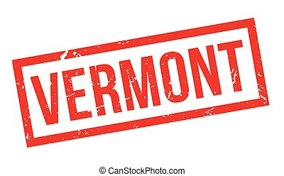 Vermont rubber stamp on white. Print, impress, overprint.