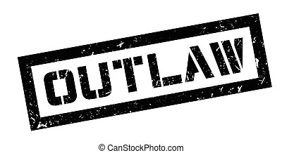 Outlaw rubber stamp on white. Print, impress, overprint.