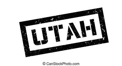 Utah rubber stamp on white. Print, impress, overprint.