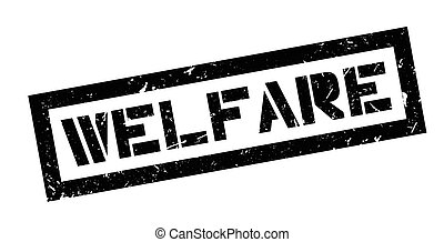 Welfare rubber stamp on white. Print, impress, overprint.