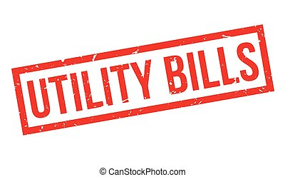 Utility Bills rubber stamp on white. Print, impress,...