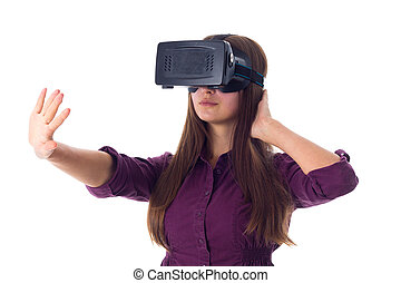 Woman using VR glasses - Young pretty woman in purple blouse...