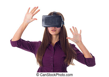 Woman using VR glasses - Young beautiful woman in purple...