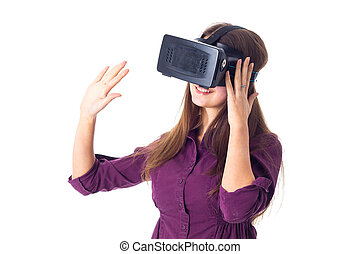 Woman using VR glasses - Smiling young woman in purple...