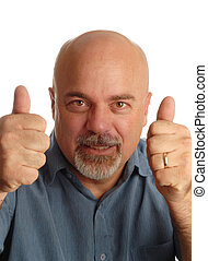 middle age bald man giving thumbs up isolated on white background