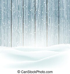 winter snow on wood background 3009 - Christmas winter snow...