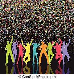 colourful party people background