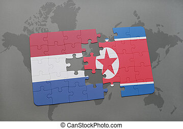 puzzle with the national flag of netherlands and north korea...