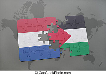 puzzle with the national flag of netherlands and palestine...