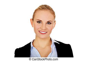 美しい, 女, ビジネス, 若い, 優雅である, 微笑