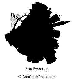 San Francisco vector circular skyline - San Francisco Planet...