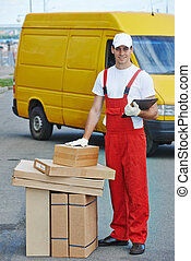 Delivery service. Man with parcel box