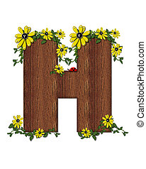 Alphabet Ladybug and Sunflower HH - The letter H, in the...