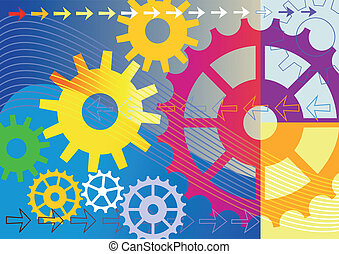 Colorful mechanical background - Colorful gears engineering...