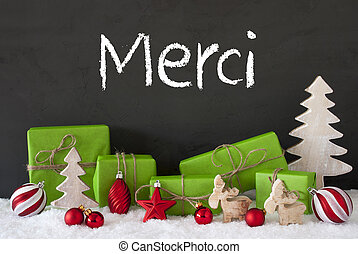 Christmas Decoration, Cement, Snow, Merci Means Thank You -...