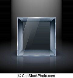 Glass Showcase - Empty Glass Showcase in Cube Form for...