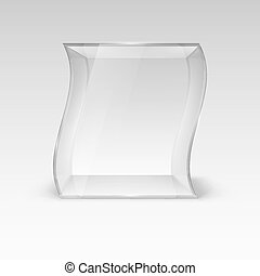 Glass Showcase - Empty Glass Showcase in Wave Form for...