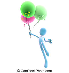 3d male icon toon character with three colorful balloons. 3D rendering with clipping path and shadow over white