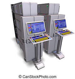 a historic science fiction computer or mainframe 3D...
