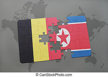 puzzle with the national flag of belgium and north korea on...