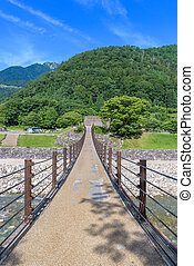 Suspension Bridge across to Shirakawago historic villages