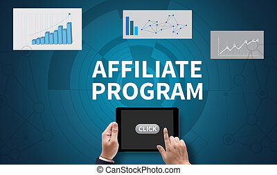 AFFILIATE PROGRAM, on the tablet pc screen held by...