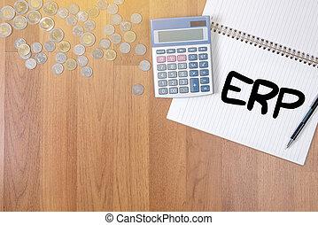 ERP A finance Money, calculator notes, calculator top view...