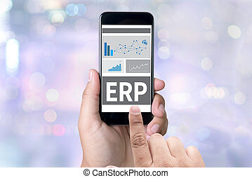 ERP person holding a smartphone on blurred cityscape...