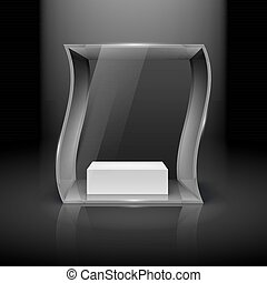 Glass Showcase in Wave Form with Spot Light for Presentation...
