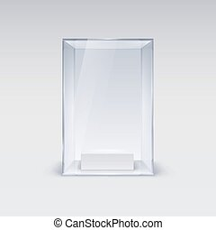 Glass Showcase for Presentation on white Background