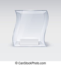 Glass Showcase in Wave Form for Presentation on white...