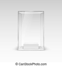 Glass Showcase for Presentation. Illustration with Shadow on...