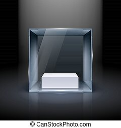 Glass Showcase in Cube Form for Presentation on Black...