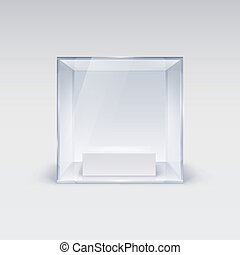 Glass Showcase in Cube Form for Presentation on white...