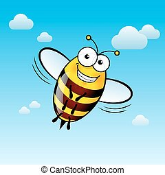Cartoon Bee - Illustration of a Friendly Cute Bee with Smile...