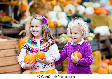 Kids having fun at pumpkin patch