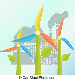 Green energy concept with windmills stylized as a flowers and polluted city on a background