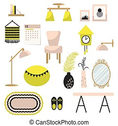 Home decor and furniture vector set flat style - Home decor...