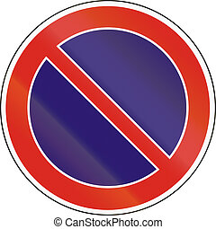 Hungarian regulatory road sign - No parking.