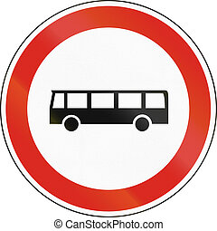 Hungarian regulatory road sign - No buses.