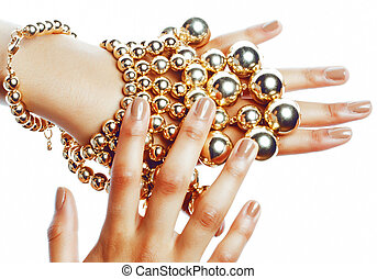 perfect shape concept: african american woman hands with lot...