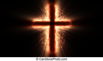 Religious cross shining
