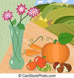 harvest of vegetables in an outdoor