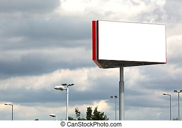 Blank Billboard Column - Empty billboard sign on a post