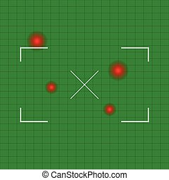 Rectangular crosshair, target mark with cross at the middle