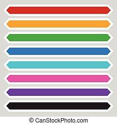 8 color octagonal button / banner shape. Colorful button,...