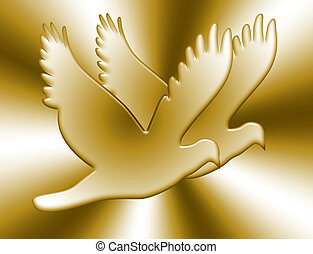 Love Doves In Gold - Bright love doves couple golden bullion...