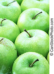 Green Apples - Freshly washed green apples lined up neatly.